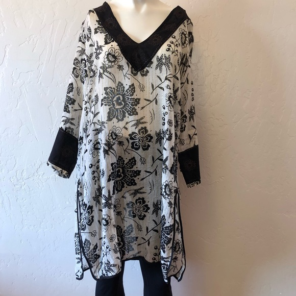 Black Mini Dress Large Raviya Tie-Dyed Off-The-Shoulder Cove Swim Cover-up
